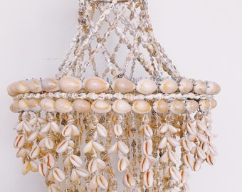 Vintage shell chandelier // bohemian decor // beach house decor