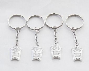 4 Best Friend Keychains, 4 Keychains, Fries Keychains, French Fry jewelry Set of 4 Keychains, Fast Food keychain, French Fry Keychain, gifts
