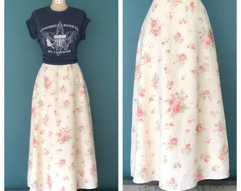 """Linen Maxi Skirt, Long Linen Skirt, Maxi Linen Skirt, High Waisted Skirt, Linen Clothing, Vintage Skirt, 28"""" Waist Medium"""