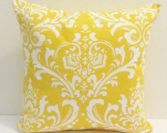 Yellow damask pillow cover, accent pillow, throw pillow. 18 x 18 inch,  FREE SHIPPING Canada and US