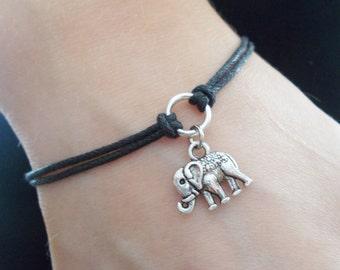 elephant bracelet cord bracelet elephant jewellery silver charm bracelet handade jewellery elephant cord bracelet fashion accessory gift her
