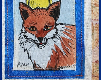 AMY: Hand painted linen/cotton napkin of Fox & Chicken. Table-runner, gift basket, bread basket. One of a kind. Handmade. Original art.