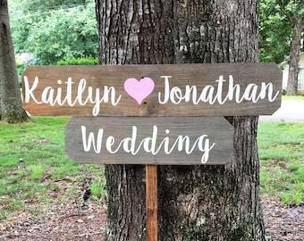 Personalized Wedding Sign Wedding Sign Wood Wooden Wedding Decor Custom Wedding Signs Rustic Arrow Sign Rustic Wedding Sign Directional Sign