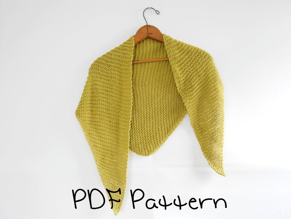 Shawl Knitting Pattern Easy Triangle Shawl Pattern Beginner from ...
