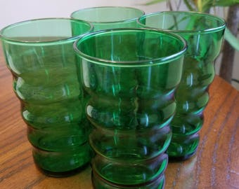 Vintage Anchor Hocking Forest Green Glass Drink Tumblers Ribbed Body