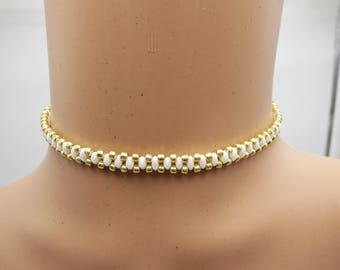 White Choker, Beaded Gold Feminine Necklace, Womens Trendy Spring and Summer Jewelry, Pretty Unique Gift For Her, Boho Fashion Style