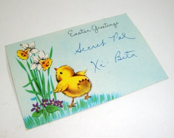 Vintage Easter Greetings Florist Card, Xi-Beta Secret Pal, Flowers  (930-12)