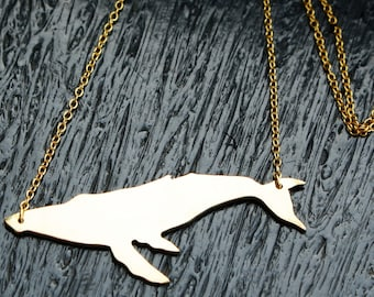 """Small Humpback Whale Pendant Gold Necklace, Polished Brass on a 16""""-18"""" gold plated chain, great gift"""