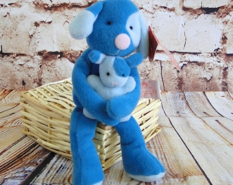 Vintage Retired Russ Berrie / Peppy Dog holding Baby Puppy / Skribbles Collection / Stuffed Plush Toy