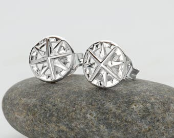 Sterling Silver Compass Stud Earrings - Compass Studs - Compass Earrings - Travel Gift - Gifts for Her