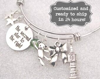 Peter Pan Engraved - The Second Star To The Right Peter Pan Bracelet DISNEY Inspired Bracelet, Custom Name Charm Bracelet, Adjustable Bangle