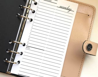 Daily Planner Inserts - Hourly Schedule - Day On One Page - DO1P - Sleek Collection