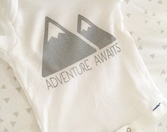 "Mountain Baby, ""Adventure Awaits"" Baby Onesie. Mountain Onesie. Trendy Baby Clothing. Modern Baby Clothes, Baby Shower Gifts."