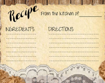 Rustic recipe card, recipe card, DIY recipe card, printable recipe card, rustic recipe card, ivory lace, tea stained lace