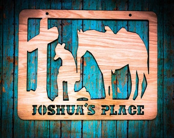 Personalized Wooden Cowboy at the Cross