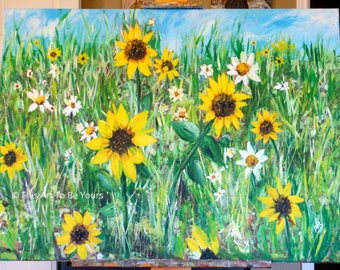 Sunflower field painting on 30 x 40 canvas, Large Wildflower original art, wall and office decor