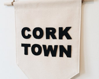 The Corktown Banner - Toronto Neighbourhood - Hand made organic cotton wall decor