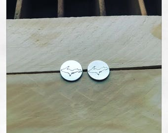 say yah to da UP Upper Penisula sterling unisex post earrings