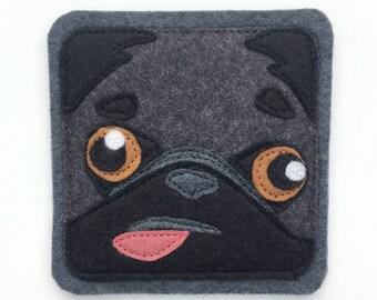 Pete-the-Pug felt coaster (1)
