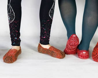 Hand knitted slippers for women