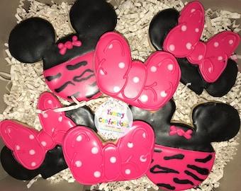 Minnie Mouse; Minnie Mouse Birthday Cookies; Pink and Black Zebra Cookies; Sugar Cookies - 1 Dozen (12 Cookies) - 1 Dozen (1