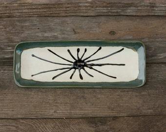 Serving Plate, Olive Green, with black art work, Sushi, Votive, Cracker, Cheese, vegetable, Nicknack
