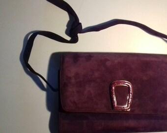 Vintage Aubergine Suede Mario Cerutti Clutch/ Shoulder Bag