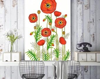 """SALE! Original Drawing - Poppy Field - A2 (16.5x23.4"""" / 42x59.4 cm) Art Print, Wall Decor, Illustration"""