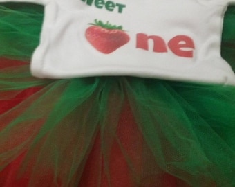 Sweet One First Birthday Strawberry Baby Girl Birthday Outfit with Tutu
