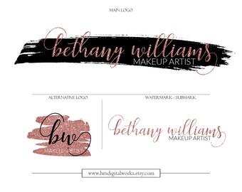 Pink Blush Makeup Logo Watermark Branding Kit Package - design no. 105 - blush pink black