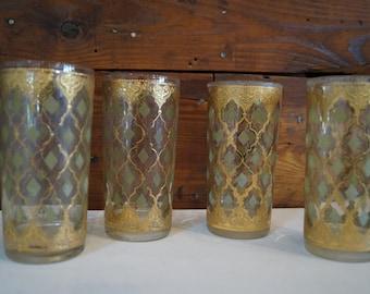 vintage glasses, vintage gold glasses, gold glasses, vintage barware, vintage glassware, set of 4 glasses, mid century glasses
