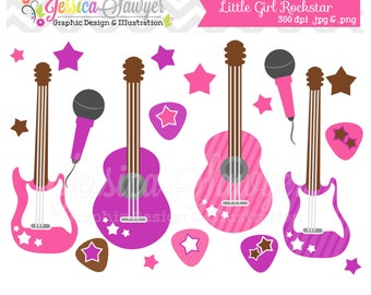 INSTANT DOWNLOAD,  Little girl rockstar clip art - guitar clipart - baby shower graphics - digital scrapbook - invitation - stars