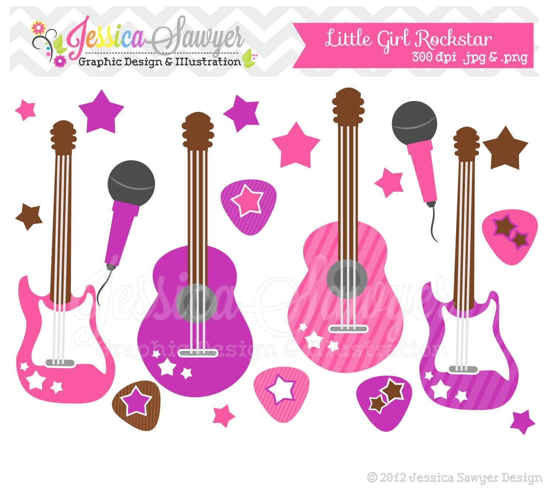 instant download little girl rockstar clip art guitar. Black Bedroom Furniture Sets. Home Design Ideas
