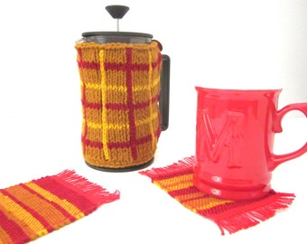 Handknit French Press Cozy and matching Handwoven Coasters