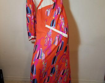 FREE  SHIPPING    1960  Mod  Psychedelic  MAXI