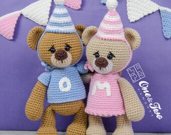 Mia and Owen the Birthday Bears Amigurumi - PDF Crochet Pattern - Instant Download - Amigurumi crochet Cuddy Stuff Plush