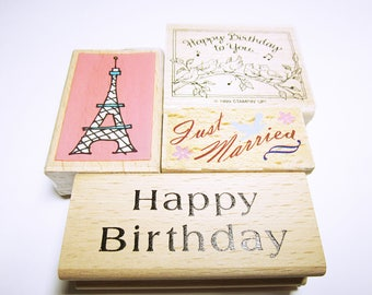 RUBBER STAMPS ASSORTED Wedding Birthday Quote Eiffel Tower Rubber Stamps Wedding Birthday Card Making Rubber Stamp Supplies