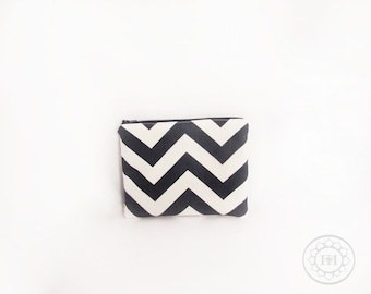 Personalized Chevron Pouch with initials - Monogrammed Makeup bag - Bridesmaid clutches- Small