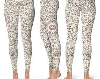 Mid Rise Womens Pattern Leggings, Printed Leggings Tights, Colorful Mandala Yoga Pants