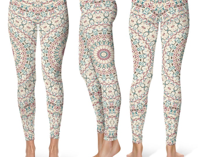 Pattern Leggings Yoga Pants, Printed Yoga Tights for Women, Feminine Mandala Design