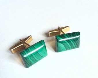 Vintage Emerald Green Marbled Cuff Links