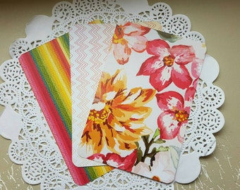 "Journal Cards Set of 3 Double Sided for Planners, Art Cards, Journaling, Project Life and Snail Mail 4"" X 6"""