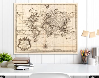 World Map, World Map Canvas, World Map Wall Art, World Map Print, Vintage Map, Map Art, Old Map, Sepia World Map, World Map Wall Decor