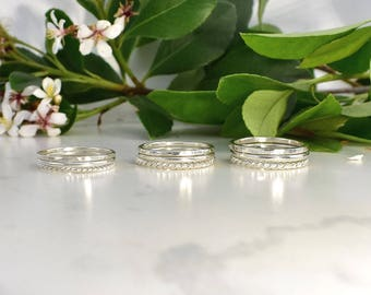 Sterling silver stacking ring set, silver stackers, eco rings, recycled silver rings, textured rings, silver twist rings,