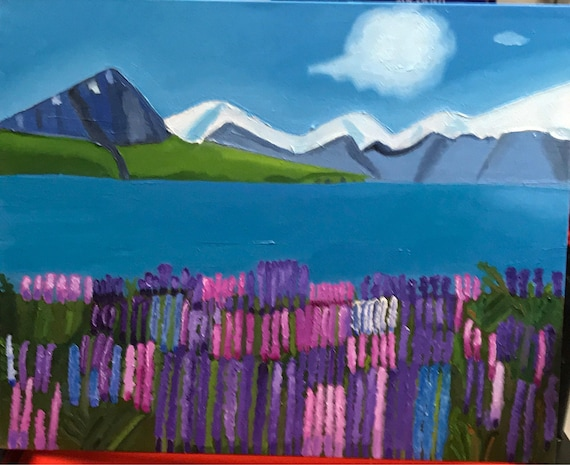 """Mountains and Flowers.  Oil painting.  16 x 20"""".1 1/2"""" gallery wrapped.   It was a fun piece.  Time consuming but i like the results."""