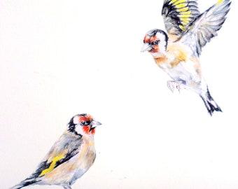 Wall sticker goldfinches PAIR, bird decor, bird gifts, watercolor birds, kitchen decor, bird wall decals, dorm decor, light switch decals