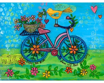 Bicycle Love will Lead the Way Print on 5x7 Canvas Paper by Elizabeth Claire