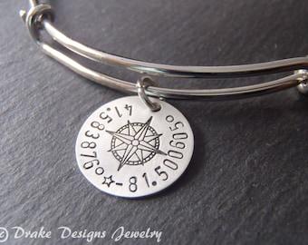Custom coordinates bracelet personalized graduation gift for her latitude longitude jewelry