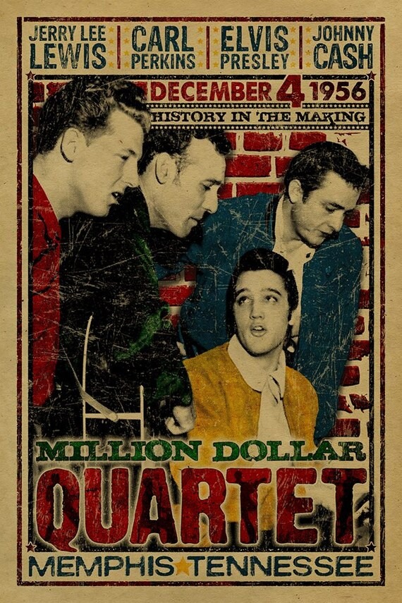 the million dollar quartet poster johnny cash jerry lee. Black Bedroom Furniture Sets. Home Design Ideas