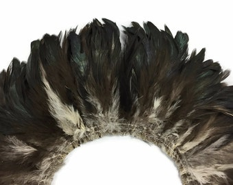 Rooster Feathers, 4 Inch Strip - Black Bronze Natural Schlappen Strung Rooster Feathers : 3280